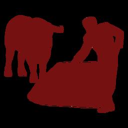 Bullfight paused bull silhouette