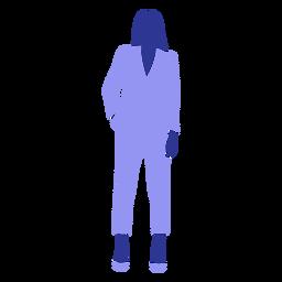 Mujer de negocios posición frente mano en bolsillo