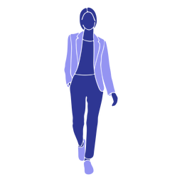 Business woman walking front hand in pocket