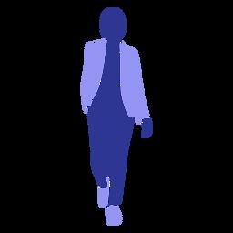 Mujer de negocios, ambulante, frente, mano, en, bolsillo