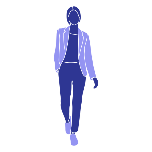 Business woman walking front hand in pocket Transparent PNG
