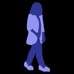 Mulher de negócios andando de frente para a direita