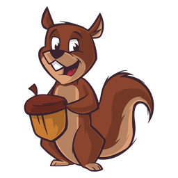 Chipmunk carrying nut cartoon