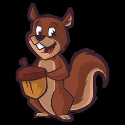 Esquilo carregando desenho animado de noz