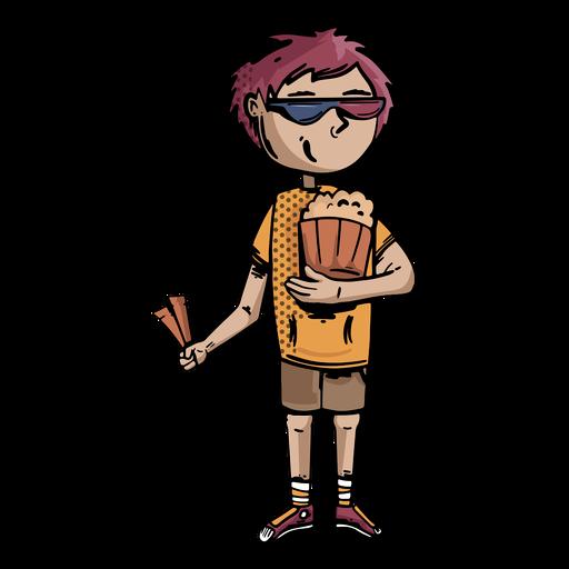 Dibujado a mano cine chico palomitas de maíz