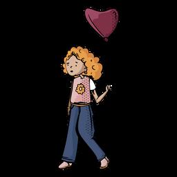 Mão de balão menina cinema desenhada