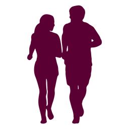 Couple jogging silhouette