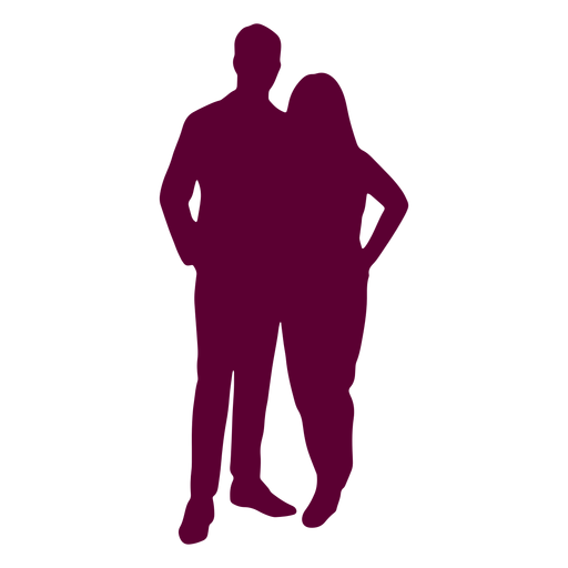 Couple posing picture hands on hip silhouette