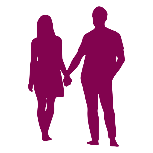 Couple standing holding hands silhouette couple