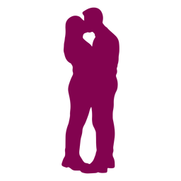 Couple standing kissing silhouette