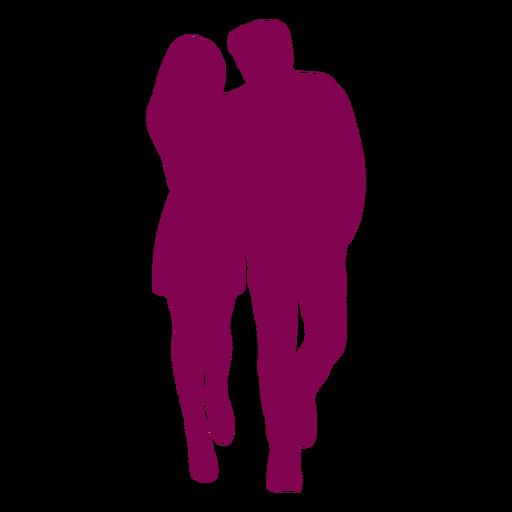 Couple walking close silhouette Transparent PNG