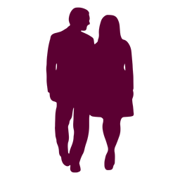 Couple walking close chatting silhouette