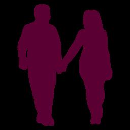 Casal caminhando de mãos dadas silhueta casal