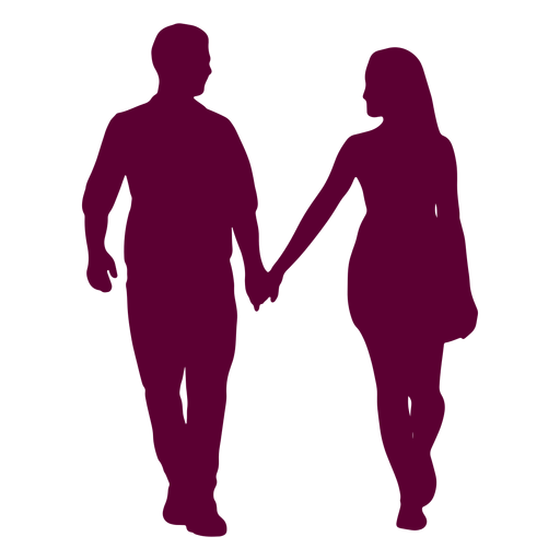 Couple walking holding hands silhouette couple