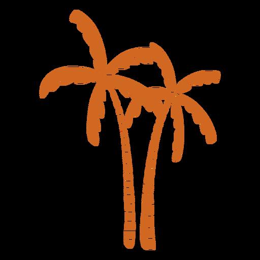 Doodle palm tree flat Transparent PNG