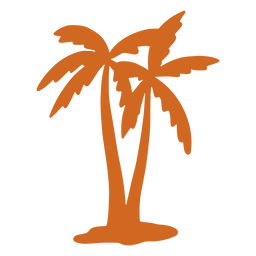Doodle palm tree close icon