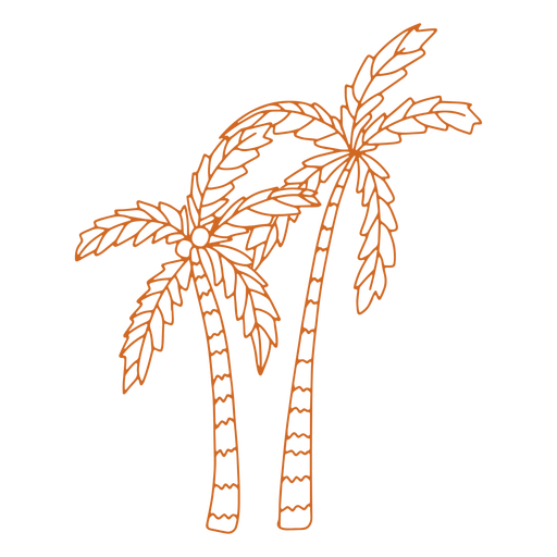 Doodle palm tree fruit flat Transparent PNG