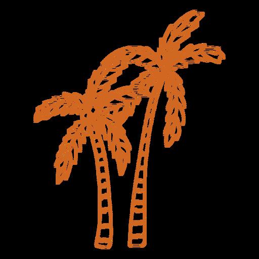 Doodle palm tree fruit flat