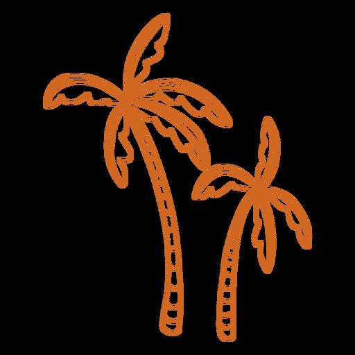 Doodle palm tree short flat Transparent PNG