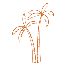 Doodle palm tree short close flat