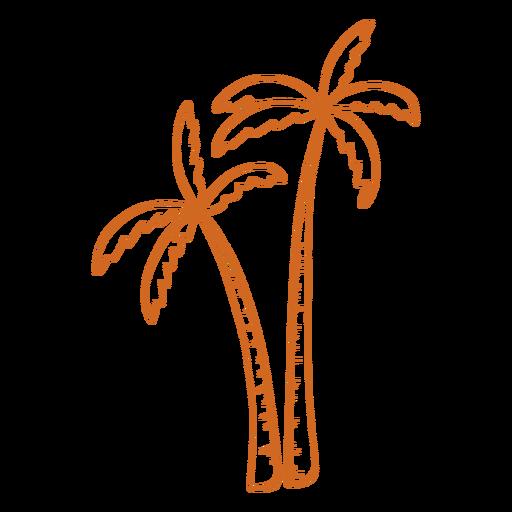Doodle palm tree short close flat Transparent PNG