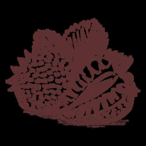 Dibujado a mano frutas fresa fruta