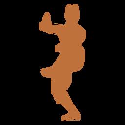 Bailarina india de pie sobre una silueta de pierna