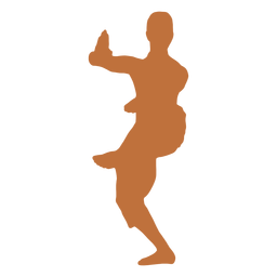 Dançarino indiano em pé na silhueta de uma perna