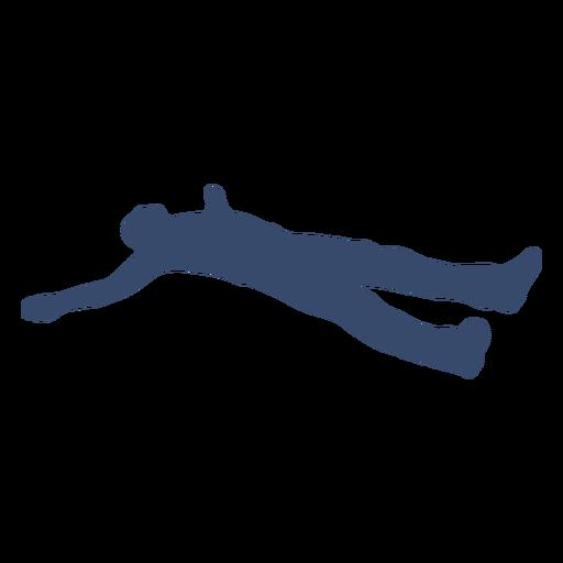 Hombre tendido descansando silueta