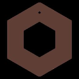 Leather earrings hexagon flat