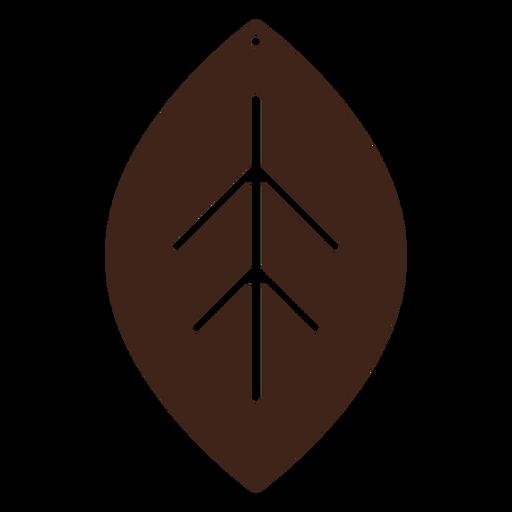 Pendientes cuero hoja marron plano Transparent PNG