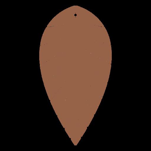 Leather earrings leaf inverted flat