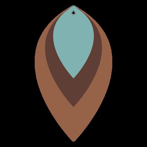 Leather earrings leaf three tone flat