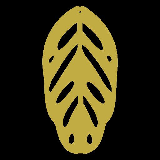 Leather earrings leaf yellow flat