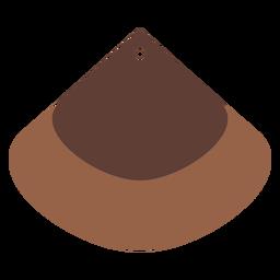 Leather earrings quadrant brown flat
