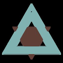 Pendientes de piel triangulares bicolor planos