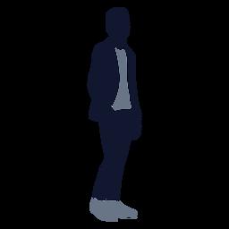 Hombres de moda mano en el bolsillo mirando hacia la derecha