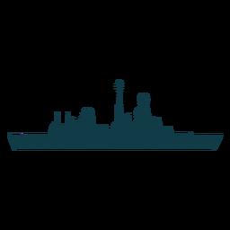 Complejo de buques navales a la izquierda orientado hacia una delgada