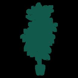 Plantar silhueta de folhas grossas simples