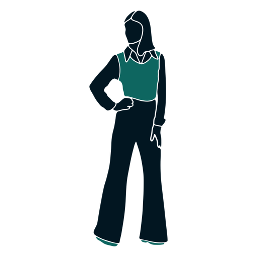 Retro 60s girl standing hand on hip Transparent PNG