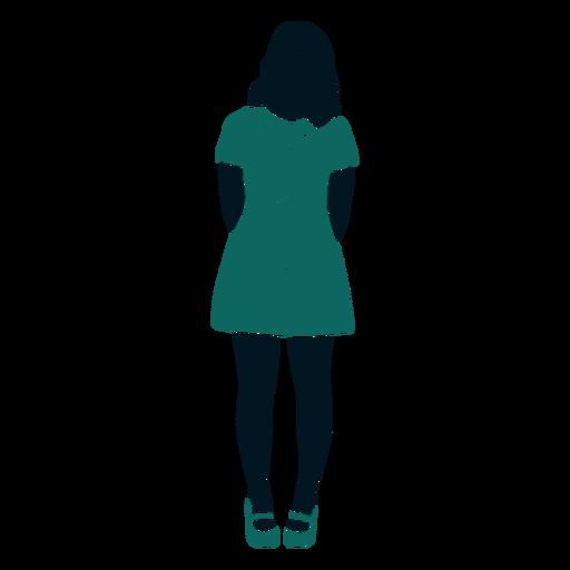 Retro 60 chica de pie con las manos detrás de la espalda Transparent PNG