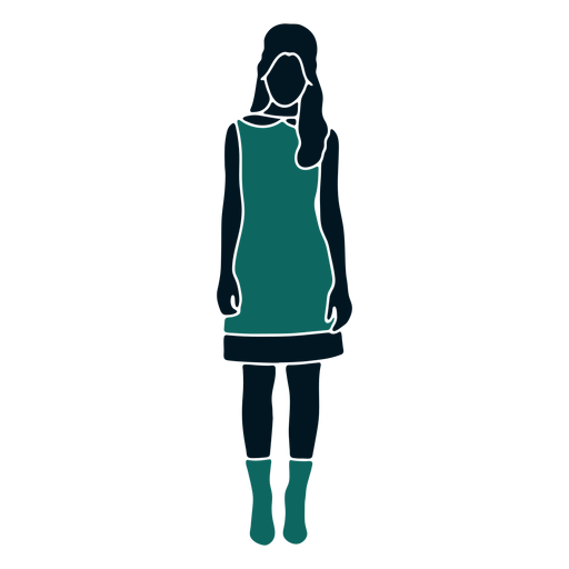 Retro 60s girl standing long hair Transparent PNG