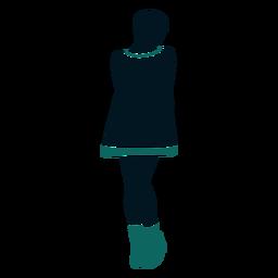 Retro 60s chica de pie mirando hacia los lados