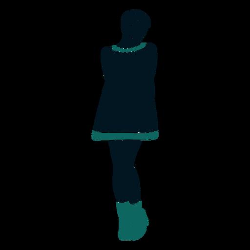 Retro 60s girl standing looking sideways Transparent PNG