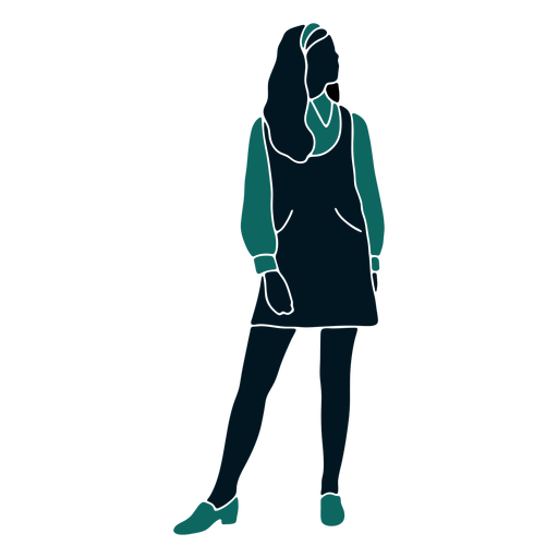 Retro 60s girl standing looking up Transparent PNG