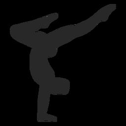 Deportes gimnasia plantea silueta parada de manos