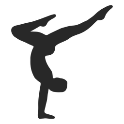 Sports gymnastic poses handstand silhouette