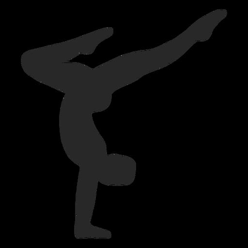 Silhueta de apoio de mãos em poses de ginástica esportiva