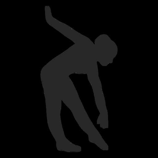 Deportes gimnasia plantea triángulo hacia adelante silueta