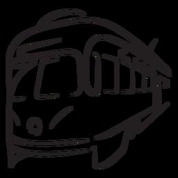 Tren eléctrico a la izquierda frente a trazo de primer plano